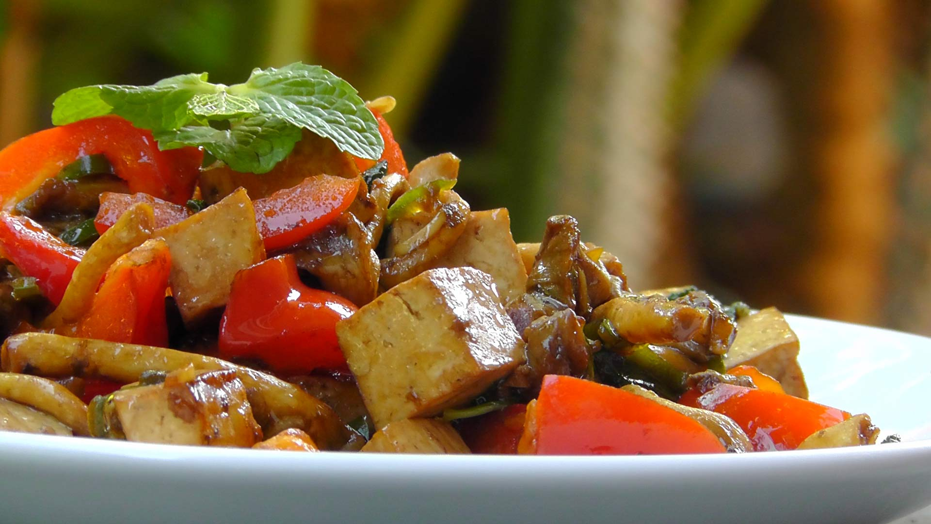 Thai Tofu mit Pilzen und Minze – International Vegan